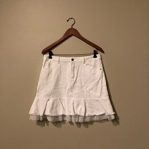Lalu Short White Jean Skirt